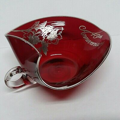 Rockwell 40th Anniversary Ruby Glass Handled  Dish w/ Sterling Silver Overlay