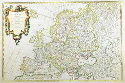 1762 - Original Decorative Antique Map of EUROPE  Iceland to Caspian by Janvier