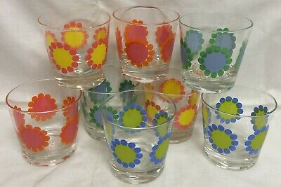 Mid Century Mod Daisy Dot Flower Drinking Glasses Low Ball Rocks Barware