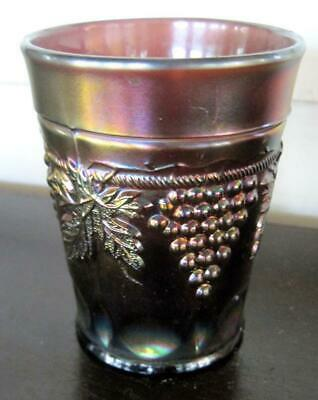 """Northwood Grape and Cable Thumbprint Amethyst Carnival Glass 4"""" Tumbler"""