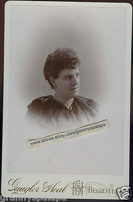 Original Cabinet Photo-Bellevue Ohio-Young Lady Curly Bangs-Gaugler Heal Studio