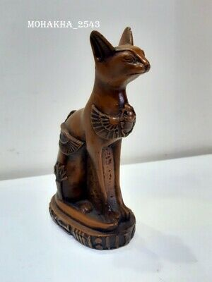 ANCIENT EGYPT, LARGE STONE FIGURE OF A CAT  Cat Pharaoh Figurine Statue