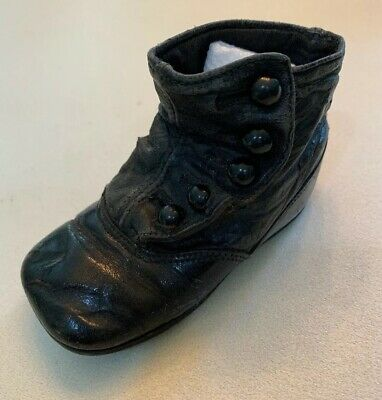 Antique Victorian ONE Baby SHOE Boot Black Leather 5 Button up