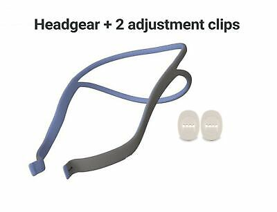 Headgear and 2 adjustment clips compatible with Resmed Airfit P10
