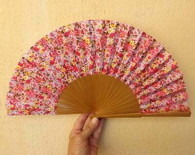 STANDARD Ditsy Floral Pink Fabric Wood Hand Painted Hand Fan Spanish Fan