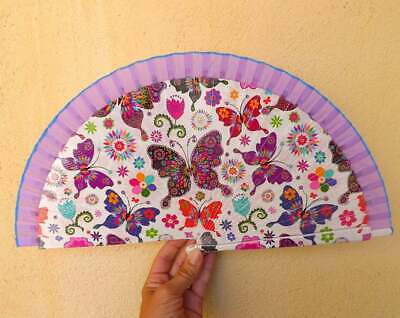 STANDARD Butterfly Printed Lilac Fabric Wood Hand Painted Hand Fan Spanish Fan