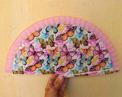 STANDARD Butterfly Printed Pink Fabric Wood Hand Painted Hand Fan Spanish Fan