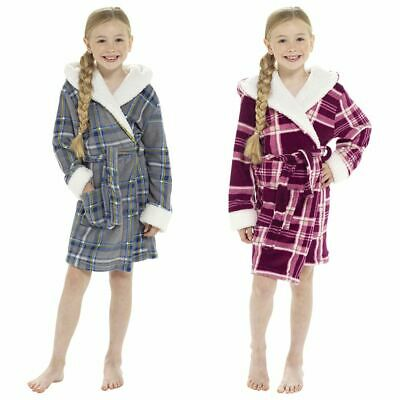 Girls Kids Soft Cosy Winter Fleece Hooded Check Sherpa Lined Dressing Gown Robe