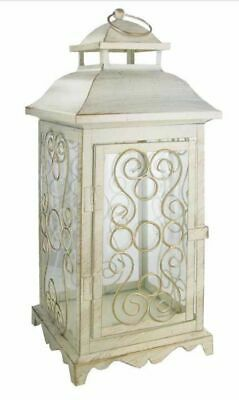 Vintage Style Antique White Metal Lantern Floral Shabby Chic Victorian Decor NEW