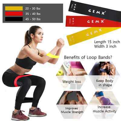 Resistance Bands Loop Set Elastic Exercise Band Fitness Home Gym Yoga Hip Band