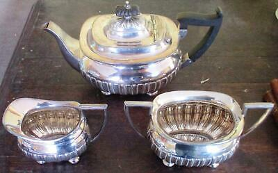 3 piece silver plated tea set by Walker and Hall, vgc fluted gadrooned