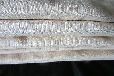 Exceptional Antique French Unbleached Smooth Fil de Lin Fine UNUSED Linen Length