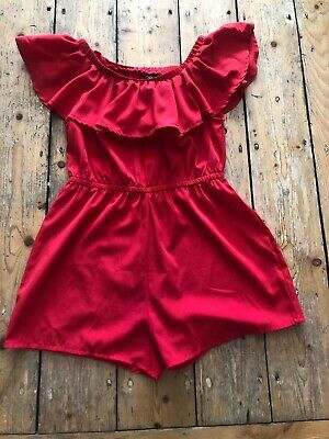 New Look Playsuit Red Bardot age 11 years Rrp £17! WORN ONCE!