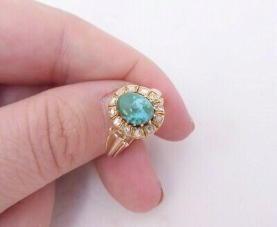 18ct gold old rose cut diamond natural turquoise ring, cluster Victorian