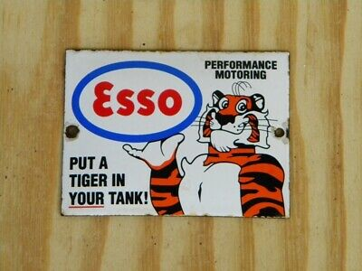"ESSO PUT A TIGER OLD PORCELAIN SIGN ~4-3/4"" x 3-1/2"" OIL PUMP GAS STATION LUBE"