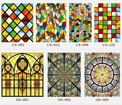 Frosted Stained Church Home Glass PVC Self Adhesive Window Films Foil Stickers