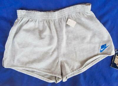Retro Nike Gym shorts Grey Knit Youth 18-20 Old stock tags 80's  Blue Swoosh