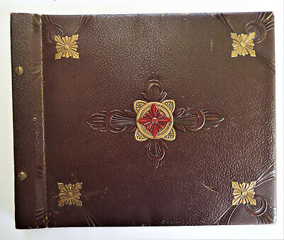 Antique Leather Bound Scrapbook Never Used
