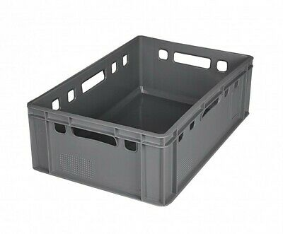 5x Euro Meat Box Grey E2 Butcher's Box Meat Box Stacking Crates Meat Tray