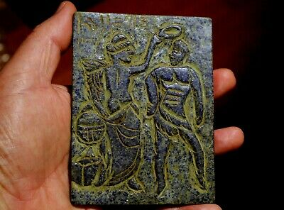 Very Old Hand Carved Lapis Lazuli Stone Roman Woman Crowning Gladiator
