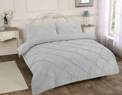 Luxury Pinch Pleat Pintuck Double Bed Duvet Quilt Cover & Pillowcase Set Silver