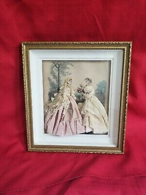 ANTIQUE VICTORIAN Fashion illustrated ladies in Dress SHADOW diorama box