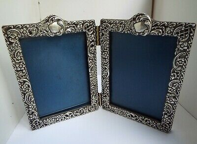 Beautiful Rare English Antique Victorian 1900 Sterling Silver Double Photo Frame