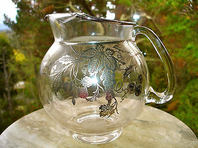 Glass Water Pitcher with Sterling Silver Overlay - Strawberries Cherries Grapes