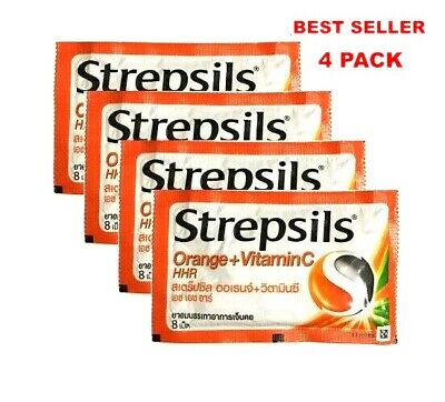 4X Strepsils Lozenges Sore Antibacterial Throat Soothing Orange Candy Home