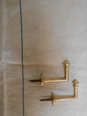 "2 Vintage French bronze brass Curtain Tie Backs Hooks 2"" L"