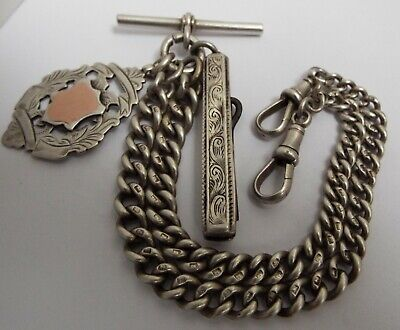 Lovely Heavy English Antique 1884 Sterling Silver Double Albert Chain & Fobs