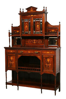 Elegant Antique English Rosewood Cabinet With Inlay, 1920'S