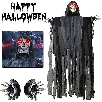Animated Hanging Skeleton Haunted House 5ft Decor Halloween Scary Prop Live Size