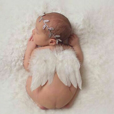 Newborn Baby Girls Boys Angel Wings Leaf Headband Set Photo Photography Props UK