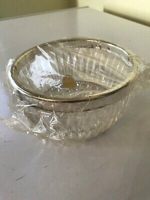 "Vintage Leonard of Italy Crystal and Silver Plate 5"" Fruit Bowl"