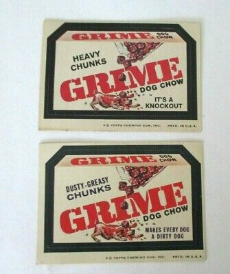 Topps Wacky Packages-Series 7-Grime Dog Chow- Both Rare Versions-Tan Backs