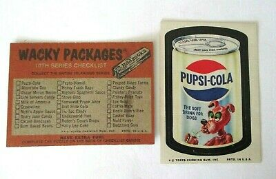 Rare- Topps Wacky Packages Series 10-Pupsi-Cola-Tan Back & Checklist Card