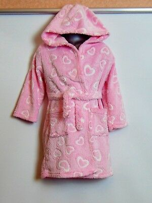 Girls Pink Fluffy Hooded Dressing Gown 5-6 years
