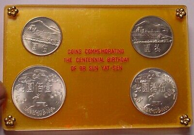 Taiwan 1965 100th Anniversary Birth of Sun Yat Sen, incl 2 silver coins.