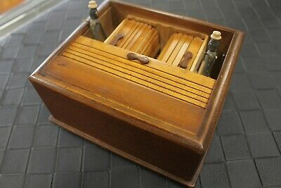 Vintage Roll-Top Cigarette Box Double Dispenser Antique Well-Made EXC Condition