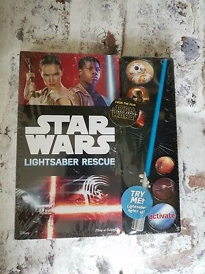 Star Wars The Force Awakens Lightsaber Rescue Book Play and Sound Lights Up NEW