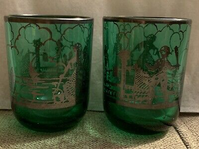 Two Beautiful Vintage Green Shot Glasses with Silver