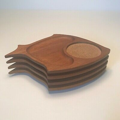 VINTAGW 4 Mid Century Modern Teak Wood Fish Serving Trays Wedding Anniversary