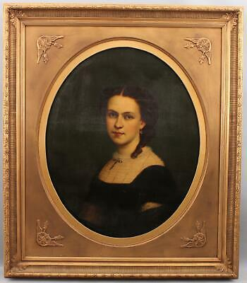 Large 19thC American Oval Portrait O/C Oil Painting, Beautiful Young Woman