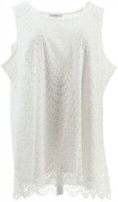 Isaac Mizrahi Scoop-Neck Scallop Lace Knit Tank Top Bright White XL NEW A353856