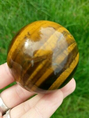50mm GOLD TIGER'S EYE Sphere Crystal Stone Reiki Charged Healing 6.5oz!