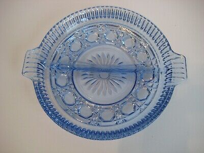 Vintage Indiana Glass Clear Blue Cut Glass Divided Round Relish Serving Dish