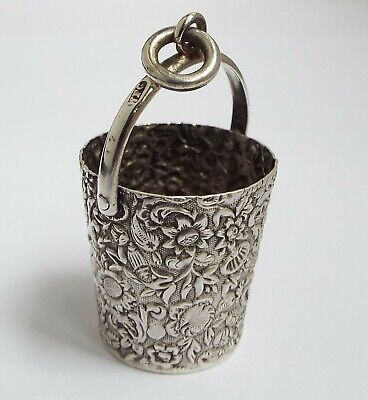 Beautiful English Antique 1893 Sterling Silver Chatelaine Sewing Thimble Holder