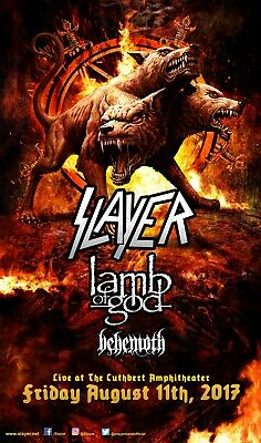 SLAYER / LAMB OF GOD / BEHEMOTH 2017 EUGENE, OREGON CONCERT TOUR POSTER - Metal