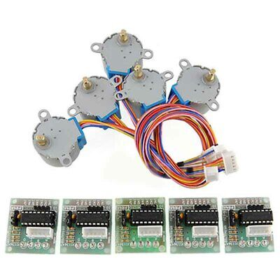 5 Kit 4-Phase Geared Stepper Motor W/ ULN2003 Driver Board 28BYJ-48 For Arduino